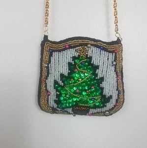 Vintage Handmade Beaded Christmas Tree Purse